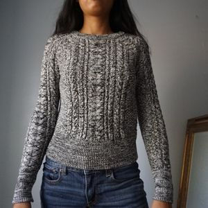 Gap for Good Marled Grey Cable Knit Sweater XS